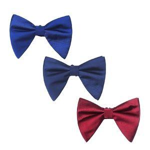 Mens Over Sized Satin Tuxedo Pre-Tied Bow Tie 3pc